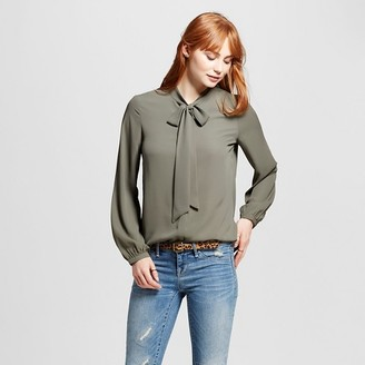 Mossimo Women's Woven Blouse with Bow Tie Neck - Mossimo $22.99 thestylecure.com