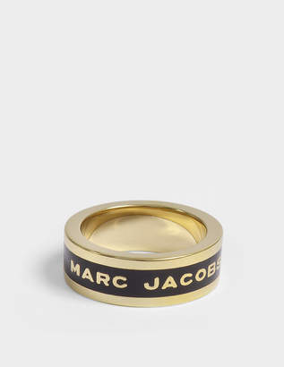 Marc Jacobs Logo Disc Band Ring in Black and Gold Brass