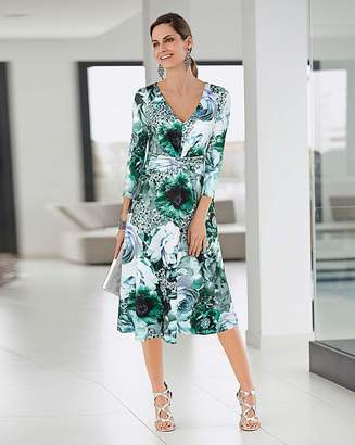 Together Floral Aqua Print Midi Dress