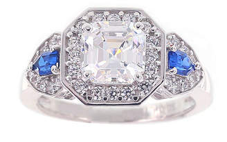 FINE JEWELRY DiamonArt Cubic Zirconia & Simulate Blue Sapphire Sterling Silver 3-Stone Ring