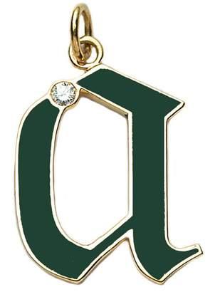 Foundrae Green Champlevé Enamel Initial Charm