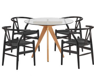Webster Temple & 4 Seater Winton Dining Table & Wishbone Chairs Set