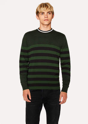 Paul Smith Men's Khaki Stripe Crew Neck Sweater With Textured Collar