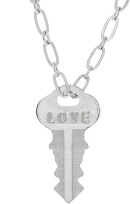 "The Giving Keys Silvertone 'LOVE' Key Pendant w/ 30"" Dainty Chain"