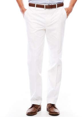 Jf J.Ferrar Men's JF Cotton Stretch White Flat-Front Straight-Leg Slim Fit Pants