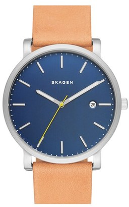 Skagen Hagen Leather Strap Watch, 40Mm $155 thestylecure.com