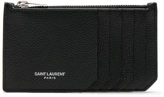 Saint Laurent Zipped Fragments Credit Card Case in Black   FWRD