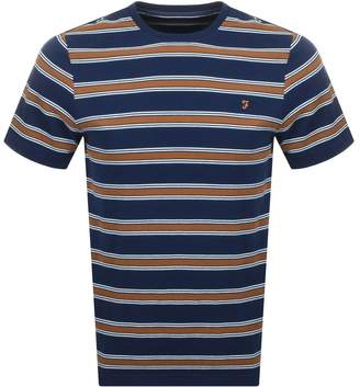 Farah Morgan Stripe T Shirt Navy