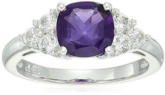 Sterling Silver Amethyst and Lab Created White Sapphire Ring