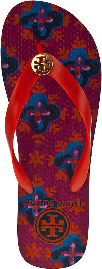 Tory Burch Printed Flip Flop Flame Red