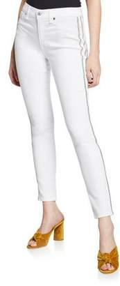 7 For All Mankind High-Waist Ankle Skinny Jeans with Silver-Stripe Details