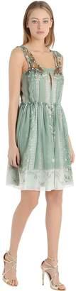 Alberta Ferretti Beads Embroidered Printed Chiffon Dress