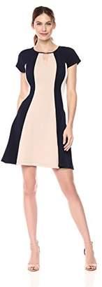 Sandra Darren Women's 1 PC Short Sleeve Printed Color Block Knit Fit & Flare Dress