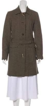 Barbara Bui Wool Leather-Trimmed Coat