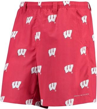 "Columbia Unbranded Men's PFG Red Wisconsin Badgers Backcast II 8"" Omni-Shade Hybrid Shorts"