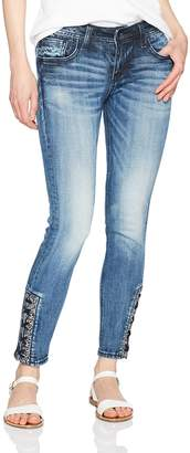Miss Me Women's Lace Ankle Skinny Denim Jean
