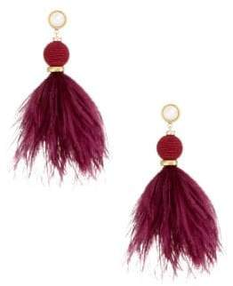Lizzie Fortunato Parker 18K Goldplated 10mm Round Pearl& Ostrich Feather Drop Earrings