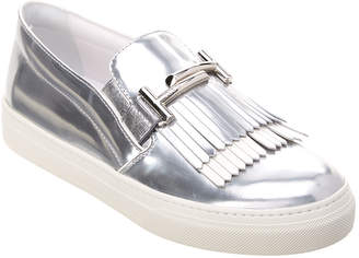 Tod's Double T Fringe Metallic Leather Slip-On Sneaker