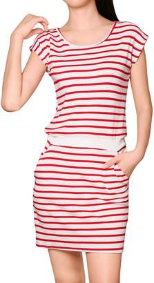 Allegra K Women's Stripes Round Neck Sleeveless Paneled Dress XS White