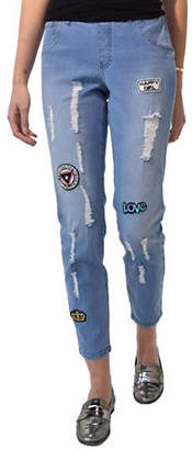 Hue Patched Ripped Denim Skimmers Jeans