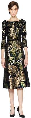 Marchesa 3/4 Sleeve Sequin Tea Length Cocktail with Velvet Trims Women's Dress