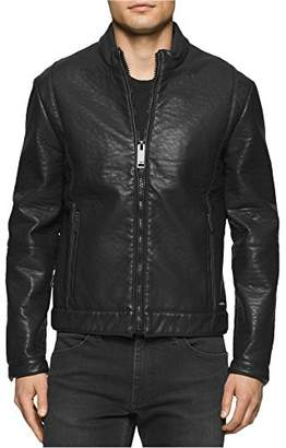 Calvin Klein Jeans Men's Bonded Bubble Faux Leather Moto Jacket