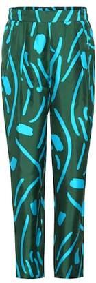 Diane von Furstenberg Printed silk-twill trousers