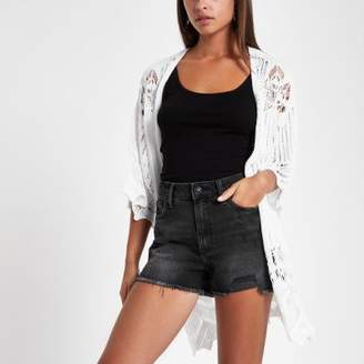 River Island Black distressed high waisted shorts