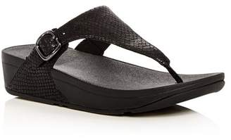 FitFlop Women's The Skinny Snake Embossed Leather Platform Thong Sandals