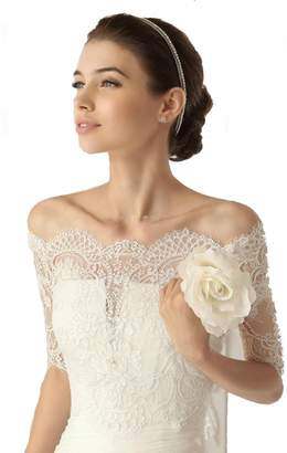 SIQINZHENG Off-Shoulder Half Sleeves Lace Bolero Wedding Jackets Bridal Wraps