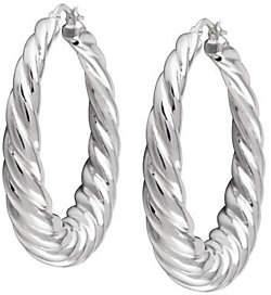 """UltraFine Silver 1-1/2"""" Twisted Hoop Earrings"""