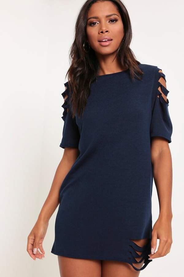 Isawitfirst Navy Distressed T-Shirt Dress