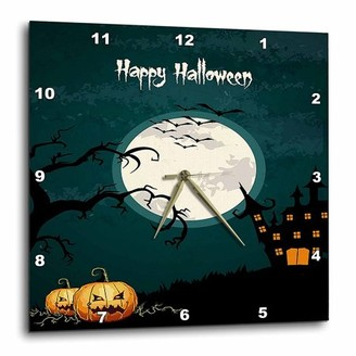 3dRose Halloween Night With A Large Moon, Pumpkins, and Haunted House, Wall Clock, 15 by 15-inch