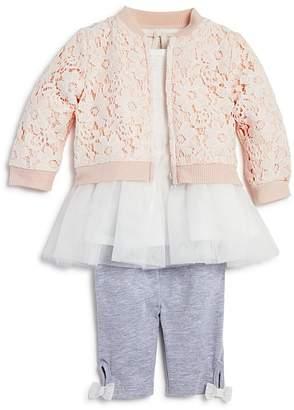 Miniclasix Girls' Lace Bomber Jacket, Tutu Top & Capri Leggings Set - Baby