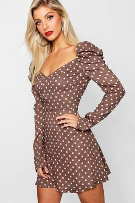 boohoo Satin Polka Dot Puff Sleeve Skater Dress