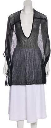 Halston Open Knit V-Neck Poncho