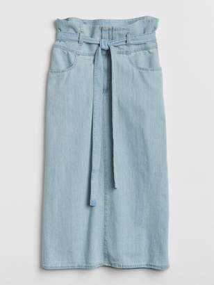 Gap Midi Paper-Bag Waist Denim Skirt