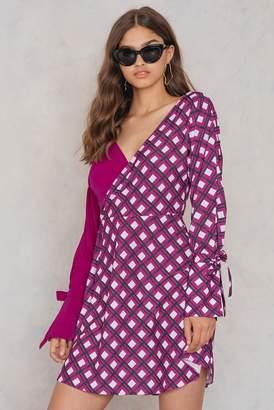 Trendyol Overlap Tie Sleeve Dress Burgundy