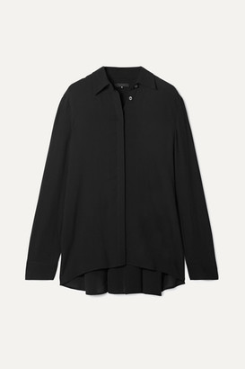 The Row Carla Pleated Chiffon Blouse - Black
