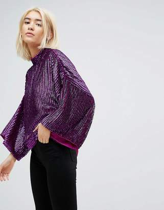 Asos Design Embellished Batwing Top