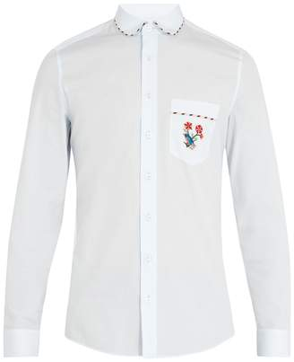 Gucci Embroidered-pocket cotton shirt