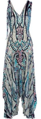 Etro Bead-embellished Printed Devore-chiffon Maxi Dress