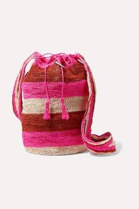 Muzungu Sisters - Rainbow Fique Striped Woven Straw Shoulder Bag - Red