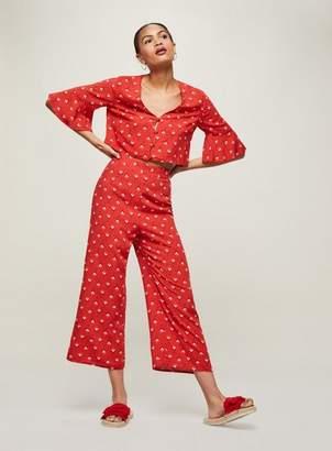 Miss Selfridge Red print crop trousers