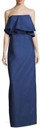 Halston Strapless Flounce Mesh Stripe Evening Gown