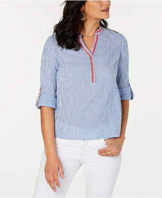Style&Co. Style & Co Petite Cotton Striped Top