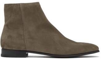 Prada Square Toe Suede Chelsea Boots - Mens - Grey