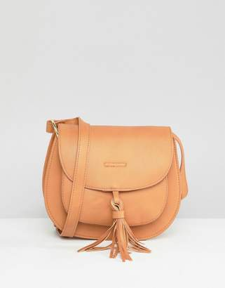 Glamorous Tan Saddle Bag With Tassle Detail