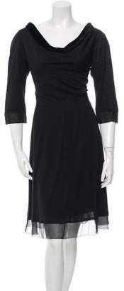 Louis Vuitton Velvet-Trimmed Midi Dress