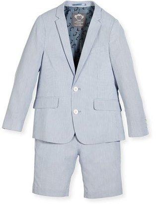 Appaman Striped Seersucker Short Suit, Light Blue, Size 2-14 $161 thestylecure.com